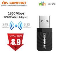 1300Mbps Mini USB Wifi Adapter Scheda di Rete Wifi Dual Band 2.4G/5.8G Wireless AC Adattatore wifi per Finestre XP/Vista/7/8/10, Mac OS