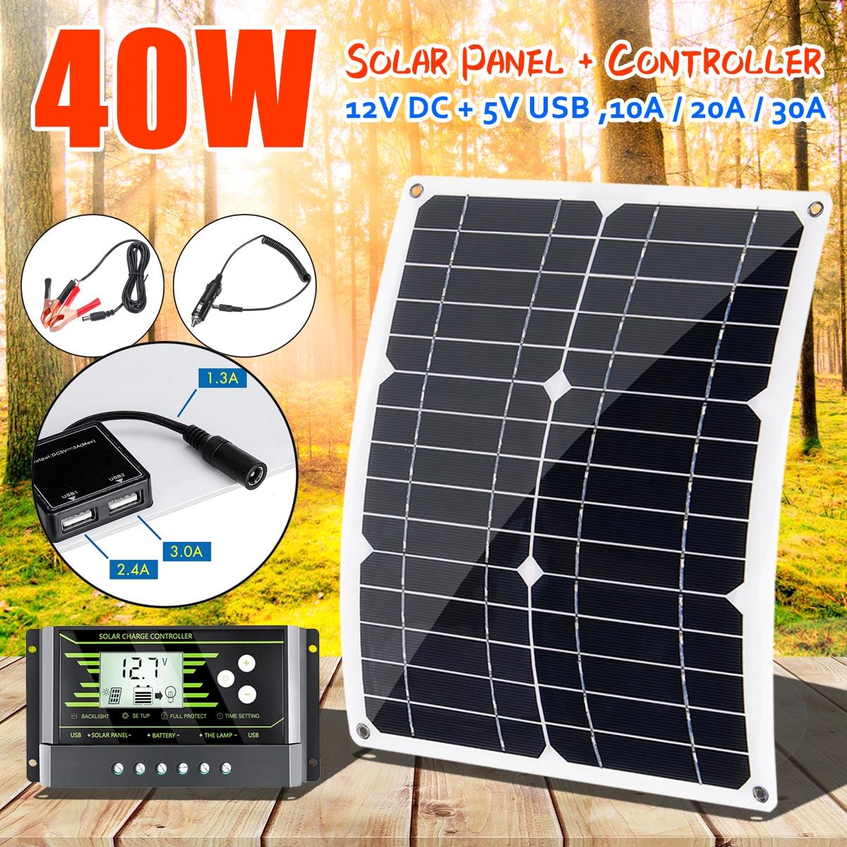40W 18V Mono panneau solaire double 12 V/5 V DC USB monocristaline chargeur solaire Flexible pour voiture RV bateau chargeur de batterie avec 10A PWM 1
