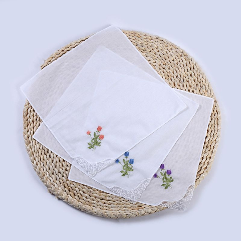 5Pcs Womens Cotton Handkerchiefs Floral Embroidered Butterfly Lace Pocket Hanky