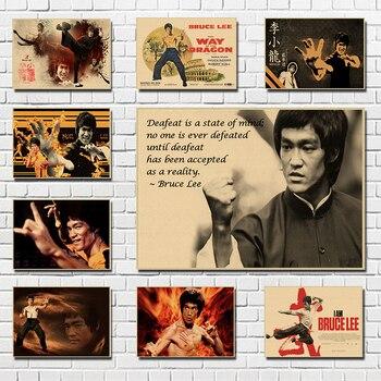 Классический постер из крафт-бумаги в стиле фильма Брюс Ли, для кафе, гостиной, столовой, настенные декоративные картины