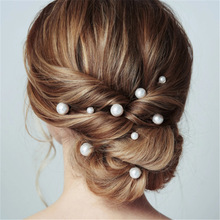 Women Simulated Pearl Hairpin Stick Wedding Bridal Crystal Hairpin U Shaped Hair Clip Hair Accessories Wholesale Hairstyle Tools