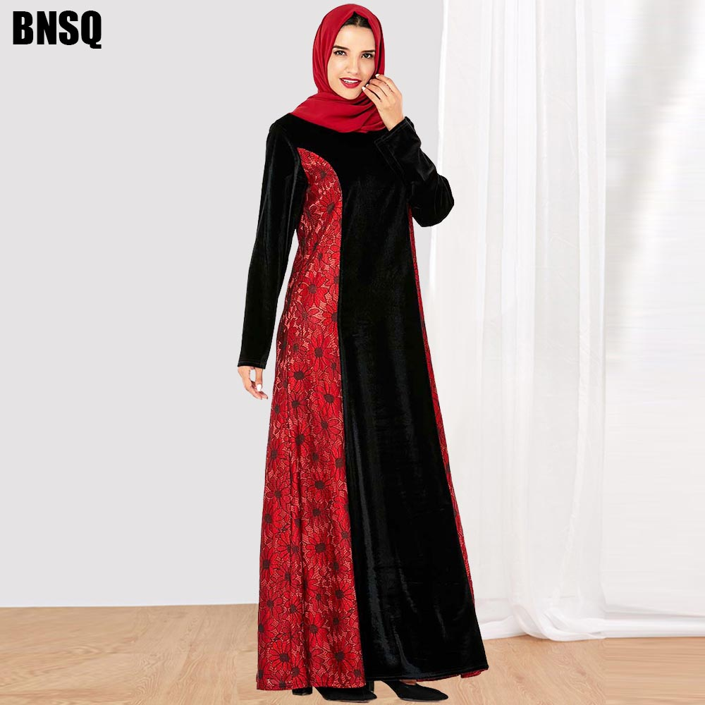 BNSQ Muslim Women Maxi Dress Plus Size Robe Abaya Open Dubai Paryer Ramadan Casual Kaftan Long Dress