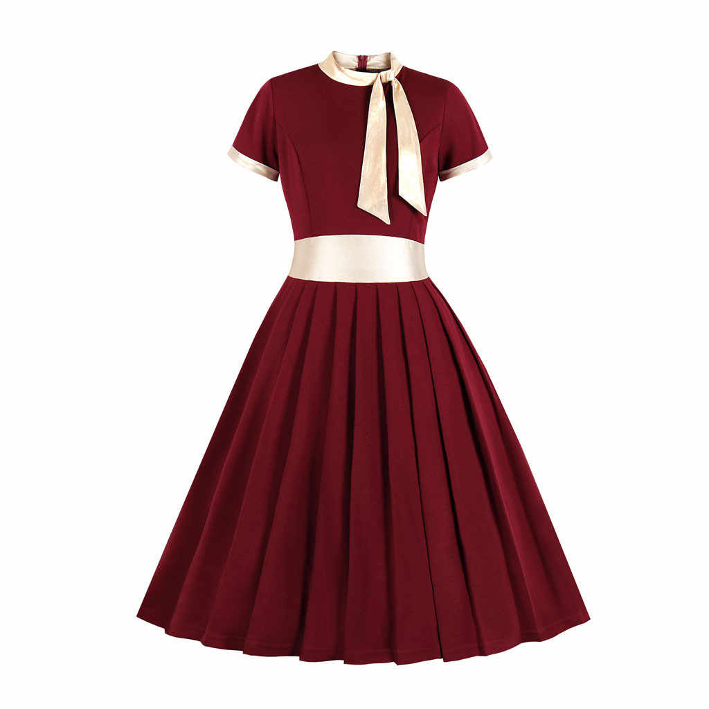 Bow Plus Size Dress For Woman Short Sleeve A-Line Solid Color Vintage Sundress Ladies Stand Collar Party Summer Dress#LR3