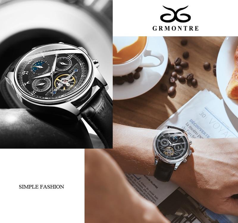 H88ac98e4ef074bc78797d632cd5c5f48K Skeleton Tourbillon Mechanical Watch Men Automatic Classic Rose Gold Leather Mechanical Wrist Watches Reloj Hombre 2018 Luxury