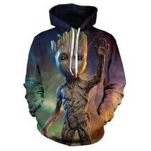 MARVEL man hoodies Avengers 3 Groot 3D printed pullover hood