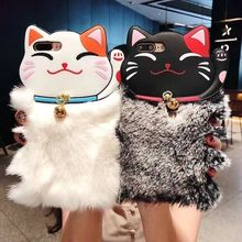 Lovely Warm Lucky Cat Rabbit Fur Phone Case For iPhone X 6 6S Plus 7 7Plus 8 Cute Furry Soft TPU hair Back Cover