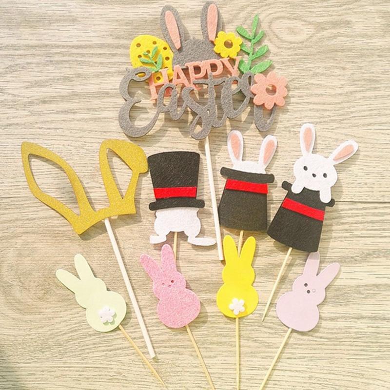 Favors Cake Decor Birthday Happy Easter Cupcake Topper Picks Card Rabbit Hat