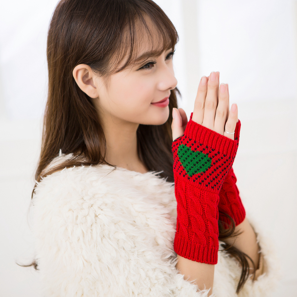 1 Pair Christmas Heart Typing Gloves Women Girls Arm Wrist Warmer Sleeves Winter Autumn Mittens Fashion Casual Gloves