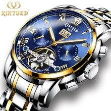 цена 2019 KINYUED Mens Watches Top Brand Luxury Automatic Mechanical Watch Men Stainless Steel Sapphire Calendar Watches онлайн в 2017 году