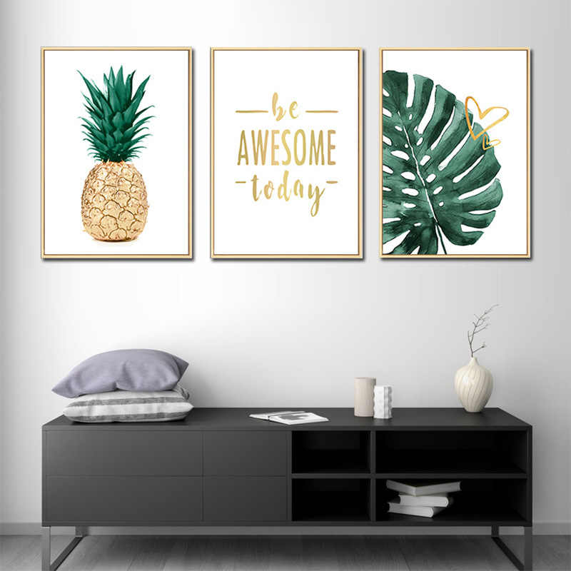 Modern Print Green Plant Pineapple Canvas Painting Home decor Wall Art Nordic Poster Nature Picture for Living room Artwork
