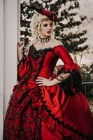 Red Black Marie Antoinette Upscale Victorian Gothic Wedding Costume Gown retro Vintage Lace up Corset Plus Size Wedding Dresses