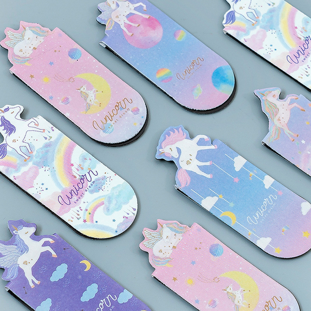 3 Pcs/pack Flying Unicorn Magnetic Bookmarks Books Marker Of Page Student Stationery School Office Supply