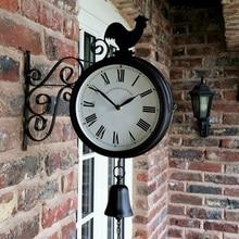 Horloge murale de jardin en plein air Double face coq Vintage rétro décor à la maison