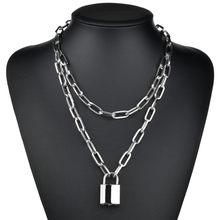 Modyle – collier chaîne à maillons Double épaisseur pour femmes, style punk, couleur or ou argent, pendentif cadenas, bijoux gothiques à la mode