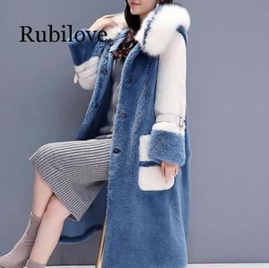Image 4 - Delle donne 2020 di Inverno collo di Pelliccia di Volpe Con Cappuccio Faux Cappotto di Pelliccia Femminile Naturale Tosatura Delle Pecore Lungo Cappotto Giacca di Lana