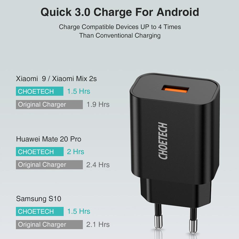 CHOETECH Quick Charge 3.0 18W USB зарядно за стена за - Резервни части и аксесоари за мобилни телефони - Снимка 3