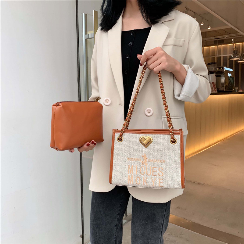 New autumn/winter 2019 fashion woven letters embroidered chain bag for women with a single shoulder across the diagonal
