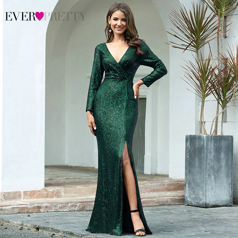Luxury Evening Dresses Long Ever Pretty Sequined V-Neck Full Sleeve Elegant Evening Gowns EP00824RG Vestido Noche Elegante 2020