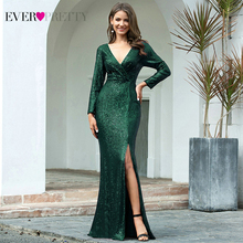 Luxury Evening Dresses Long Ever Pretty Sequined V Neck Full Sleeve Elegant Evening Gowns EP00824RG Vestido Noche Elegante 2020
