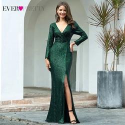 Robes de soirée de luxe longue jamais jolie paillettes col en v manches longues élégantes robes de soirée EP00824RG Vestido Noche Elegante 2020