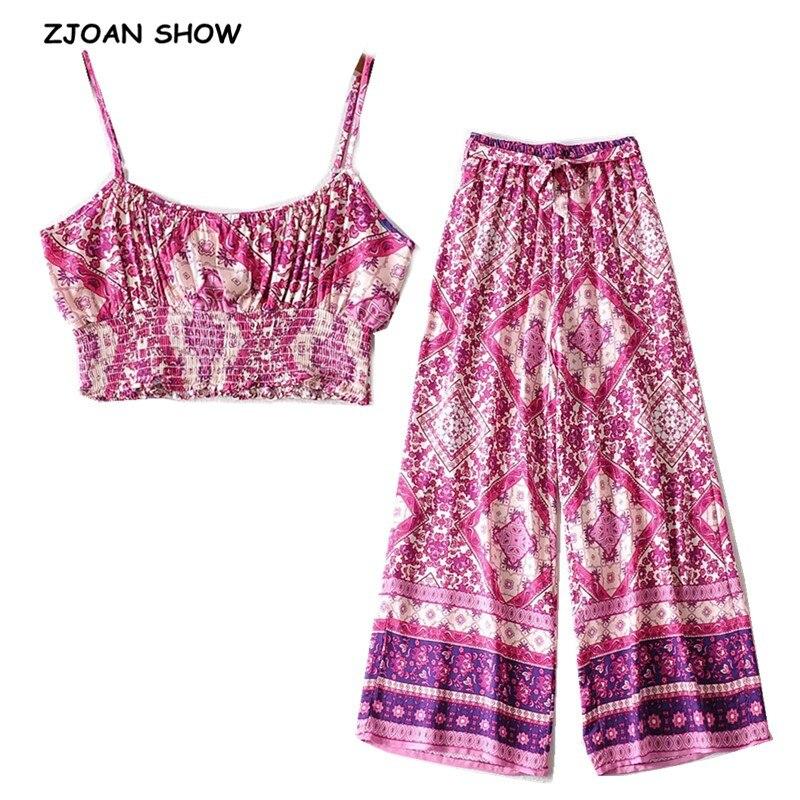 2020 Bohemia Elastic Hem Geometric Floral Print Bra Tank Top Crop Top Women Bow Sashes Wide Leg Pants Ruched Camis 2 Pieces Set