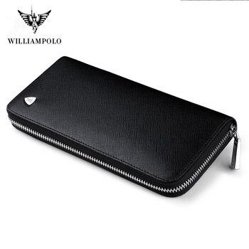 Мужской Длинный кошелек WILLIAMPOLO, из натуральной кожи, на молнии, pl119