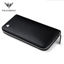 WILLIAMPOLO New fashion men long wallet genuine leather purse handbags for male luxury brand  zipper clutches pl119