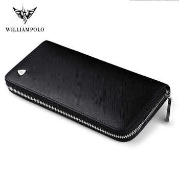 WILLIAMPOLO New fashion men long wallet genuine leather purse handbags for male luxury brand  zipper men clutches pl119 - DISCOUNT ITEM  60% OFF All Category