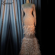 Arabic Robe Long Sleeves Dubai Illusion Evening Dresses Beaded Turkish Moroccan Kaftans Prom Dress Crystals Party Gowns 2020 New