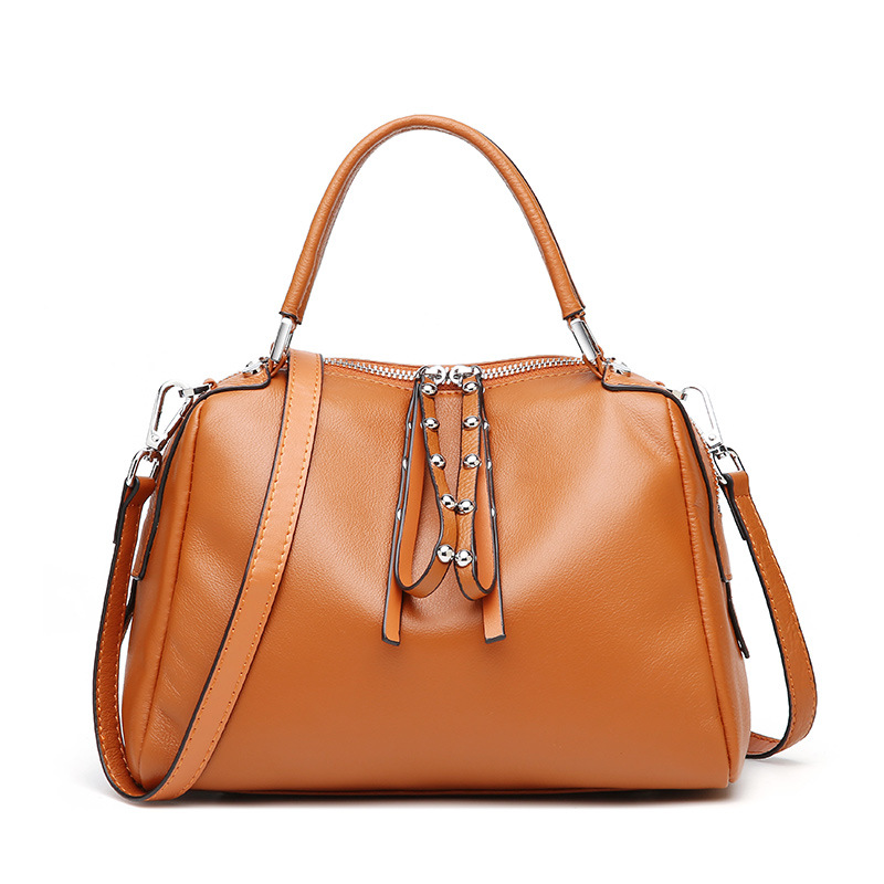New Cowhide Realer Woman Handbags Genuine Leather Bag Female Shoulder Crossbody Bags Leather Women Messenger Boston