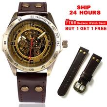 24 自動腕時計メンズスケルトン機械式時計スチームパンクヴィンテージブロンズ革透明腕時計モンタオム船 時間