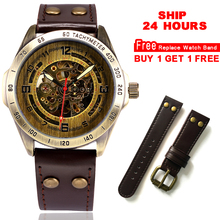 Automatic Watch Men Skeleton Mechanical Watch Steampunk Vintage Bronze Leather Transparent Watches montre homme Ship 24 hours