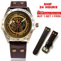 Automatische Uhr Männer Skeleton Mechanische Uhr Steampunk Vintage Bronze Leder Transparent Uhren montre homme Schiff 24 stunden