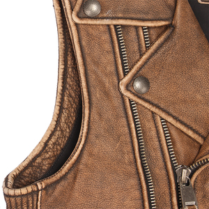 Image 4 - ヴィンテージブラウン厚いオートバイベスト 100% 本物の牛革メンズバイカー革ベストモト革チョッキノースリーブジャケット M462