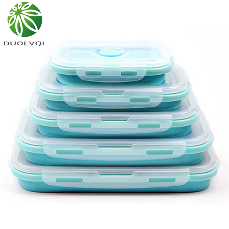 Duolvqi 3/4PCS Set Foldable Silicone Food Lunch Box Fruit Salad Storage Food Box Container Dinnerware Conveniently Lunch Box