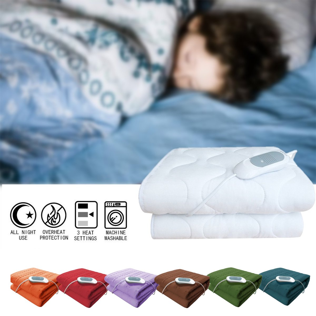 150x75cm Electric Blanket Thicker Heater Washable Heated Mattress High Grade Warm Heater Flannel Blanket Temperature Timing