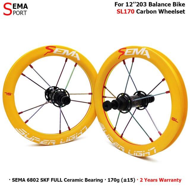 Karbon tekerlek SEMA SL170 karbon tekerlek 12 inç süper hafif tekerlekler SKF seramik rulman çocuklar için denge bisikleti titanium konuşmacı