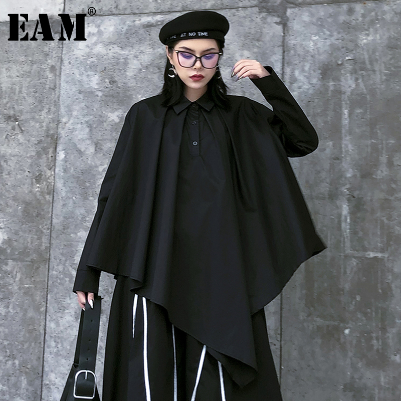 [EAM] Women Black Asymmetrical Big Size Blouse New Lapel Long Sleeve Loose Fit Shirt Fashion Tide Spring Autumn 2020 1R488