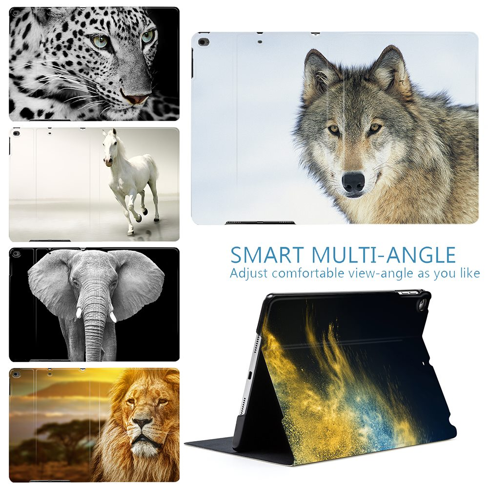 """Cool Wild Animals Tiger Lion Wolf PU Leather Stand Smart Case Cover For IPad Air 2 3 9.7"""" 567th 2019 10.2"""" 10.5"""" PRO Mini 4 5"""