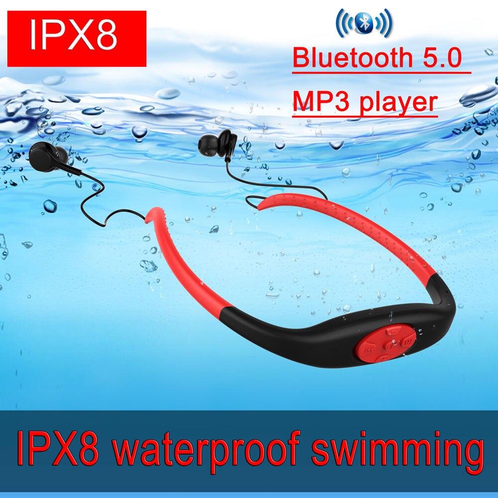 Nouveau IPX8 Bluetooth écouteur avec FM stéréo écouteur étanche natation écouteur Mini sport sans fil écouteur lecteur Mp3 8GB