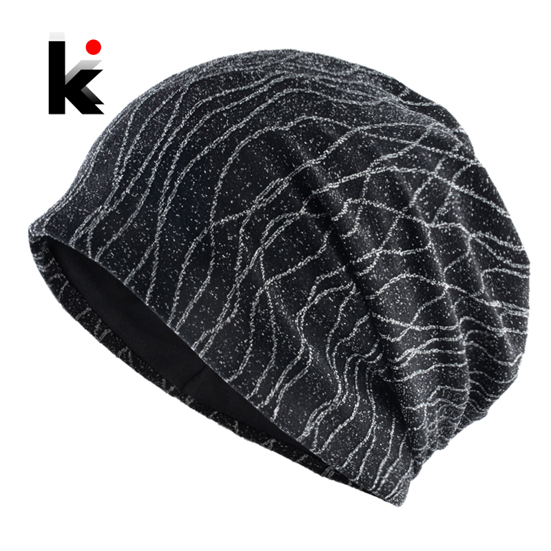 Spring   Beanie   Women Flashing Striped Bonnet Hat Autumn Female Hip Hop Shinning   Skullies     Beanies   Streetwear Turban Hats Ladies