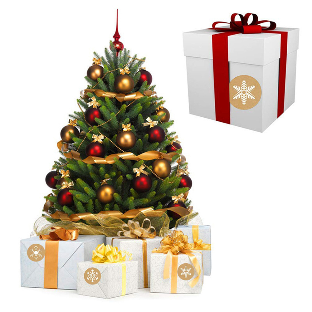 50-500pcs Christmas Gift Decoration Sticker Package Kraft Stickers 5