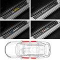 4 шт. двери автомобиля порог углеродного волокна накладка Стикеры для Защитные чехлы для сидений, сшитые специально для Volkswagen polo tiguan jetta 6 ...