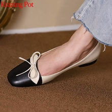 Women Pumps Low-Heels Krazing-Pot Round-Toe Butterfly-Knot British Shallow L1f6 Mixed-Color