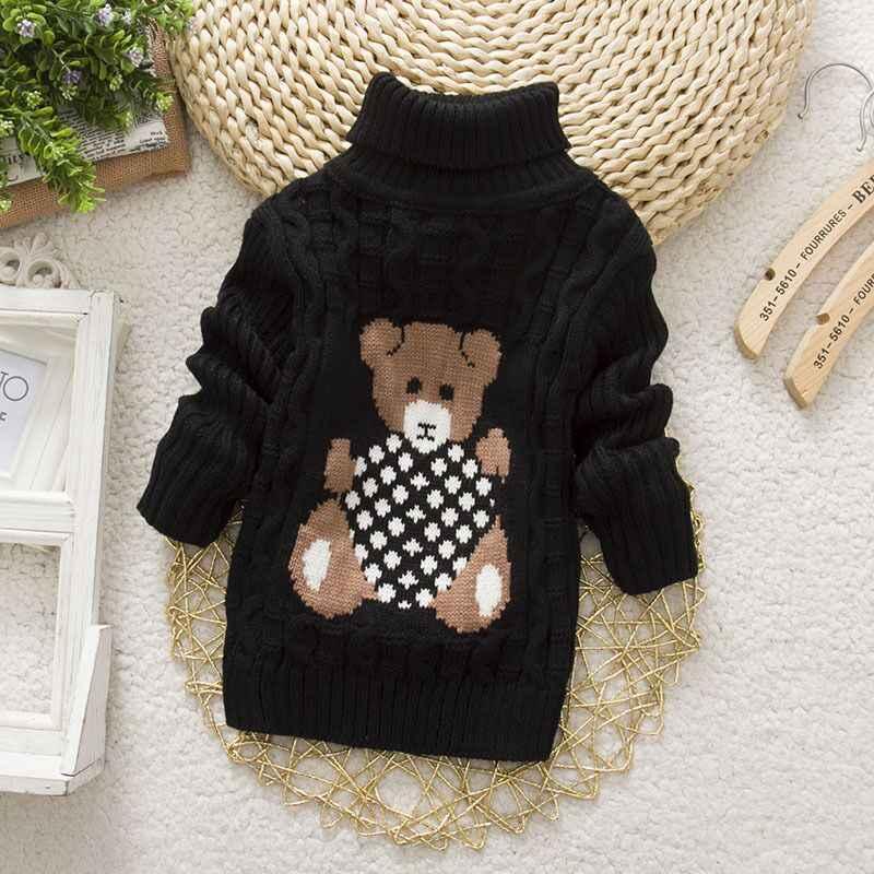 가을/겨울 니트 풀오버 터틀넥 따뜻한 스웨터 아기 소녀 의류 만화 곰 어린이 스웨터 키즈 소년 겉옷