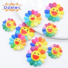 20Pcs/lots Smiling Colorful Sunflower Multisize Smile Resin Craft Scrapbooks Applique Baby Girl Hair Clips Decoration
