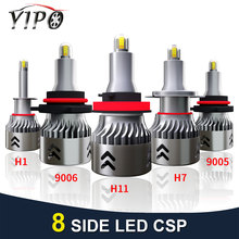 2PCS headlight led h7 h11 h1 9005 9006 HB3 HB4 headlamp lampada 12V auto MINI 8 side H7 CSP car light bulbs 6000K automotivo