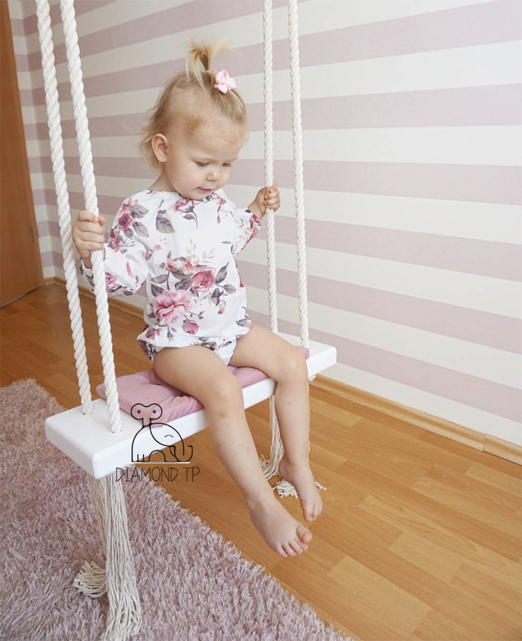 INS Wind Children Swing Hanging Chair, Children's Room Decoration, Baby's Recreation Swing Solid Wood Board, Cotton Rope Swing