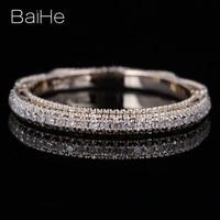 BAIHE Solid 14K Yellow Gold 0.2CT H/SI Round Natural Diamond Wedding Gift Women Trendy Fine Jewelry Diamond Ring