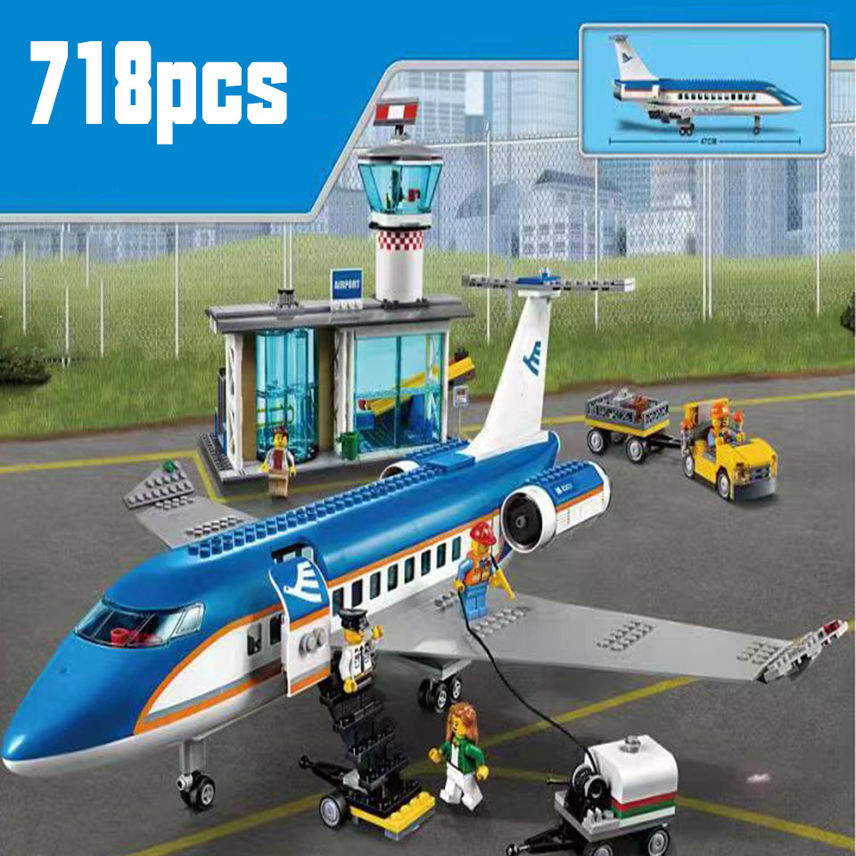 718pcs LepininglyCity Plane Series International Airport Airbus Aircraft Airplane Building Blocks Sets Figures Bricks Toys Kids